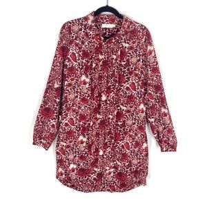 Tory Burch Cora Floral Silk Shift Dress Maroon Red